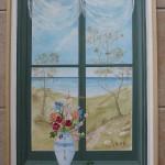 Paysage en perspective au travers d'une fenêtre