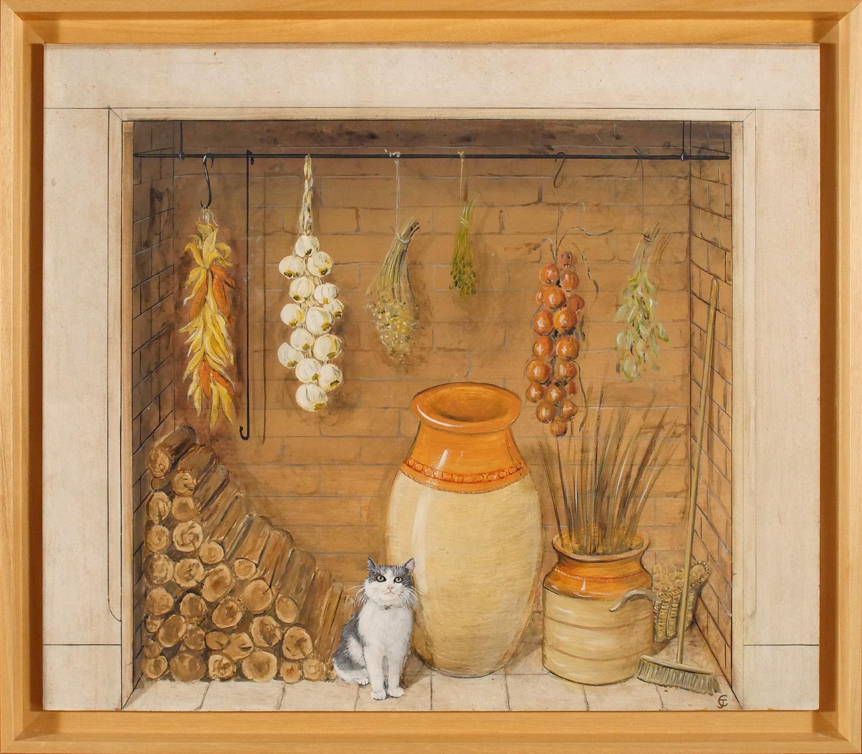 Le trompe l oeil en peinture sur bois atelier jce for Fausse cheminee decorative en bois